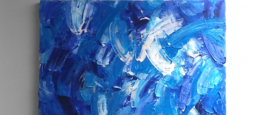 Blue Splash Painting by Janet Gervers, Abstract Artist, Santa Monica & Venice