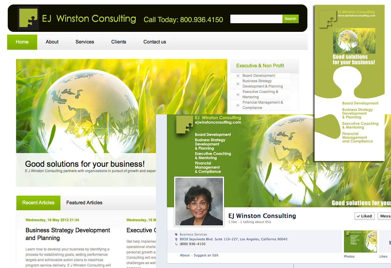 Branding: WordPress Website, Facebook Page, Brochure for Business Coach